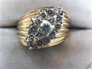 Lady's Diamond Cluster Ring 15 Diamonds .87 Carat T.W. 14K Yellow Gold 9.1g