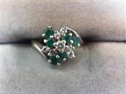 Lady's Diamond Cluster Ring 7 Diamonds .15 Carat T.W. 14K White Gold 2g