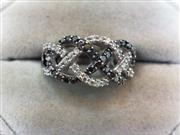 Lady's Silver-Diamond Ring 62 Diamonds .92 Carat T.W. 925 Silver 4.7g