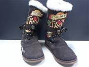 ED HARDY BROWN SUEDE BOOTS SIZE 7