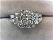 Lady's Diamond Cluster Ring 52 Diamonds .84 Carat T.W. 10K White Gold 3.2g