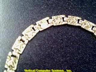 BRACELET L'S 14KT  X20 APPRO SQUARES WITH HEART STAMPED IN EACH SQUARE 7/YG