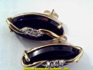 FASHION  EARRINGS L'S 10KT FASHION BLACK STONE, 3 CLEAR STONES PW 1122 2.6/YG