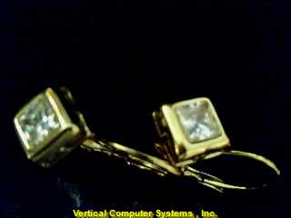 DANGLE  EARRINGS L'S 10KT DANGLE CUBIC ZIRCONIUM PW4520 1.1/YG