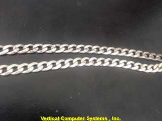 """24"""" M'S STERLING SILVER Silver Curb Chain C LINK 925 Silver 18.4dwt"""