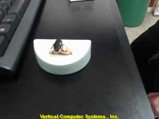 Black Stone Lady's Stone Ring 14K Yellow Gold 3.9dwt Size:8