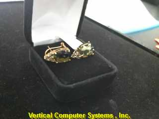 FASHION Synthetic Peridot Gold-Stone Earrings 10K Yellow Gold 3.1dwt