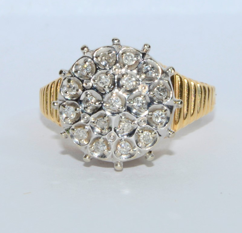 14K Yellow Gold Vintage Inspired Large Diamond Cluster Textured Band Ring sz 8.5