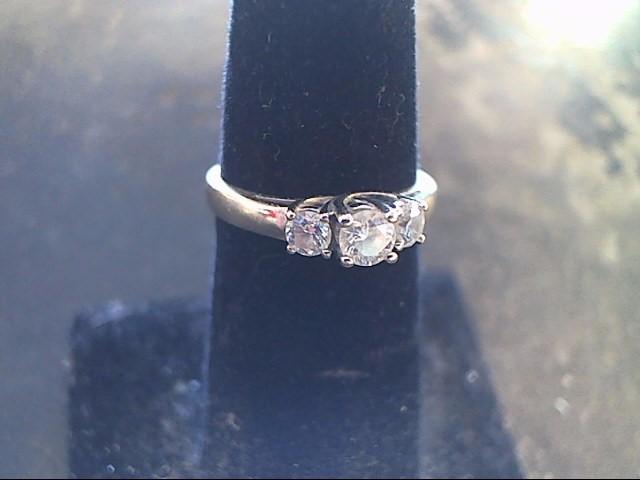 Lady's Diamond Engagement Ring 3 Diamonds .50 Carat T.W. 14K White Gold 1.9dwt