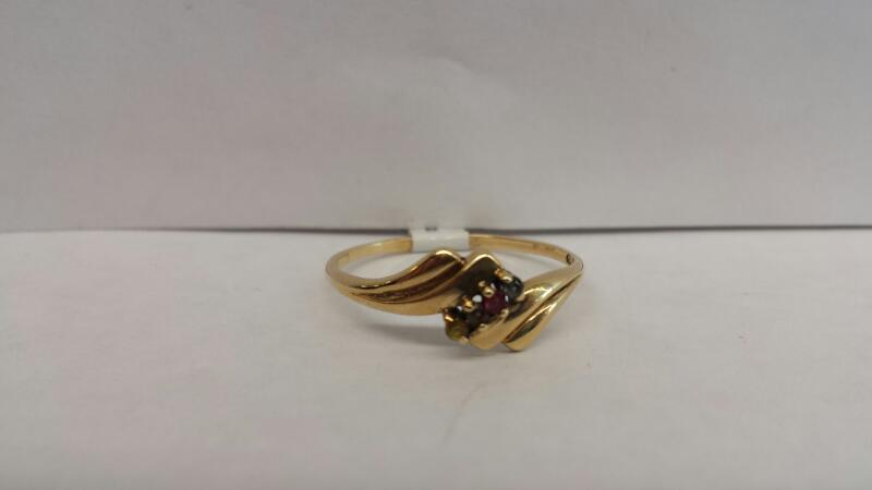 10k Yellow Gold Ring with 1 Yellow, 1 Purple, 1 Red, and 1 Blue Stone