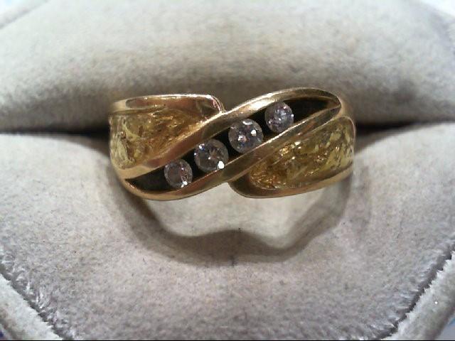Gent's Gold-Diamond Wedding Band 4 Diamonds .28 Carat T.W. 14K Yellow Gold 8.9g
