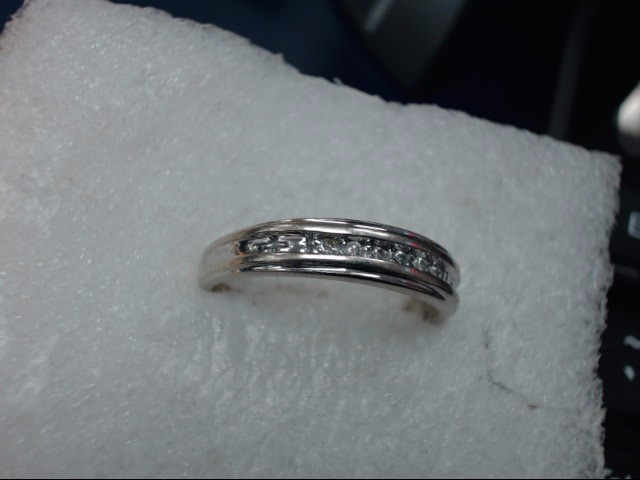 Gent's Gold-Diamond Wedding Band 10 Diamonds .10 Carat T.W. 10K White Gold