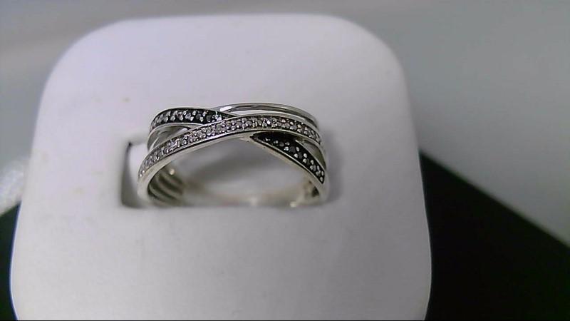 Lady's Silver-black and white Diamond Ring 8 Diamonds  925 Silver 3.8g
