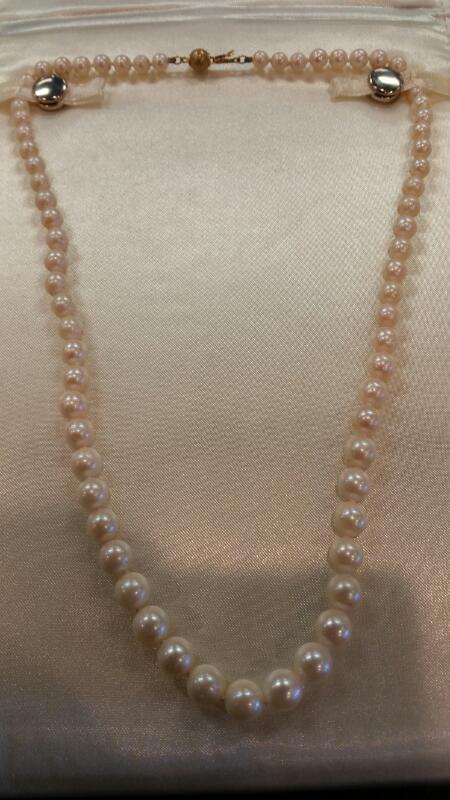"""17"""" Synthetic Pearl Strand Stone Necklace 14K Yellow Gold 14.3dwt"""