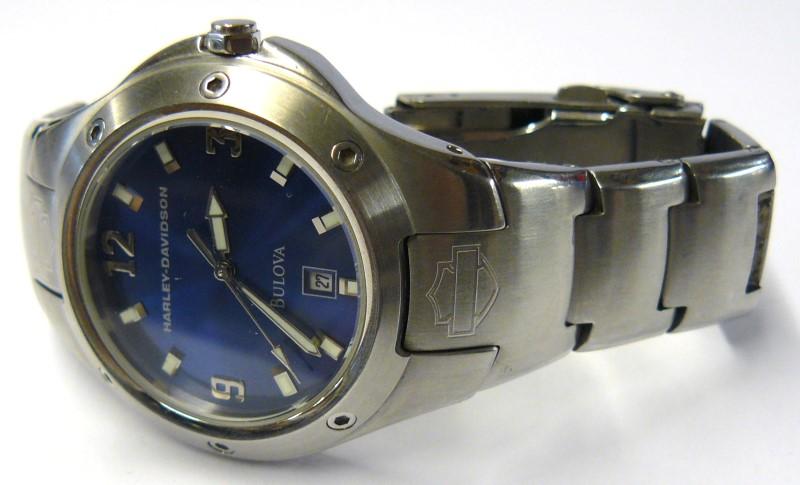 WATCHES JEWELRY JEWELRY BULOVA A5 2005 HD; WRIST WATCH BLUE FACE STAINLESS STEEL