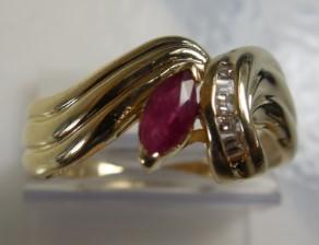 Red Stone Lady's Stone & Diamond Ring 5 Diamonds .05 Carat T.W. 14K Yellow Gold