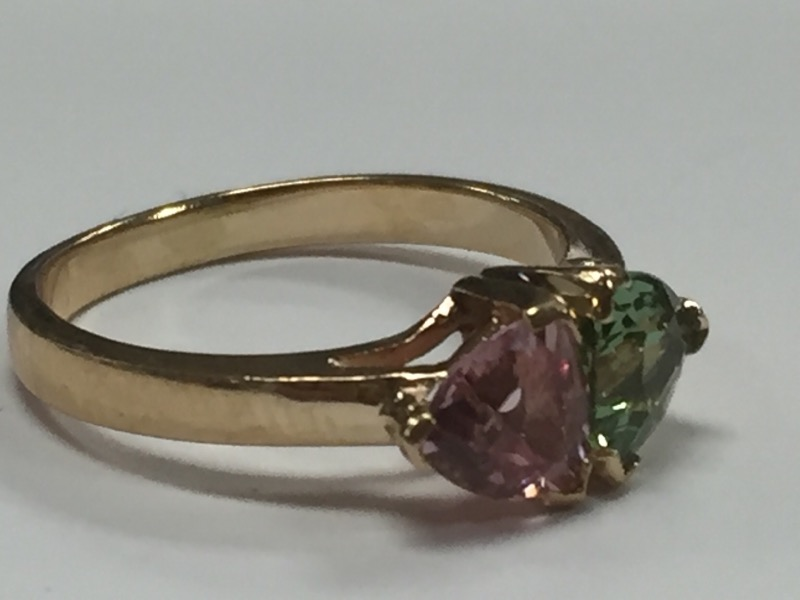Pink Stone Lady's Stone Ring 14K Yellow Gold 3.2g Size:7