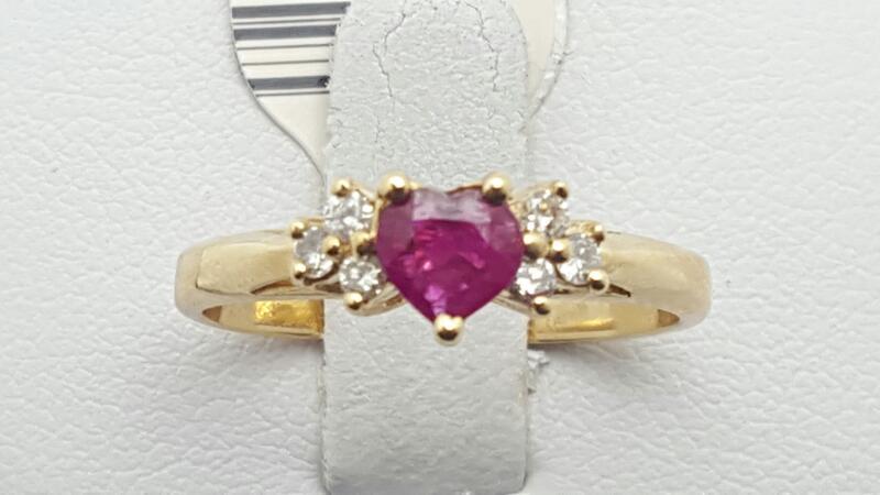 Ruby Lady's Stone & Diamond Ring 6 Diamonds .12 Carat T.W. 14K Yellow Gold 2.5g