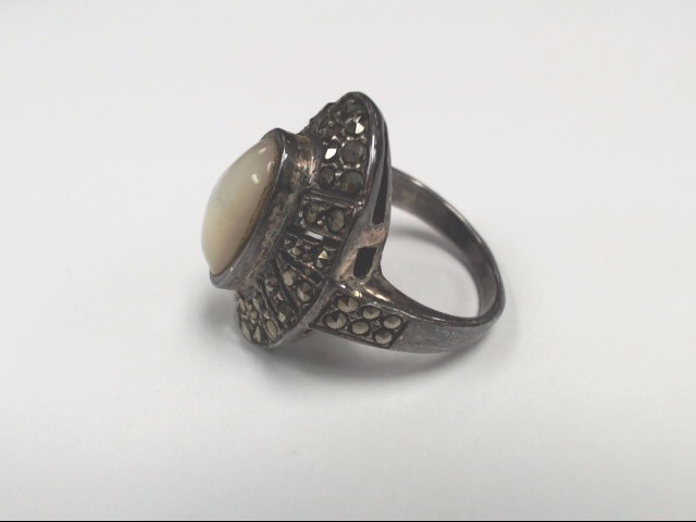 Synthetic Mother Of Pearl Lady's Silver & Stone Ring 925 Silver 8.3g Size:6.5