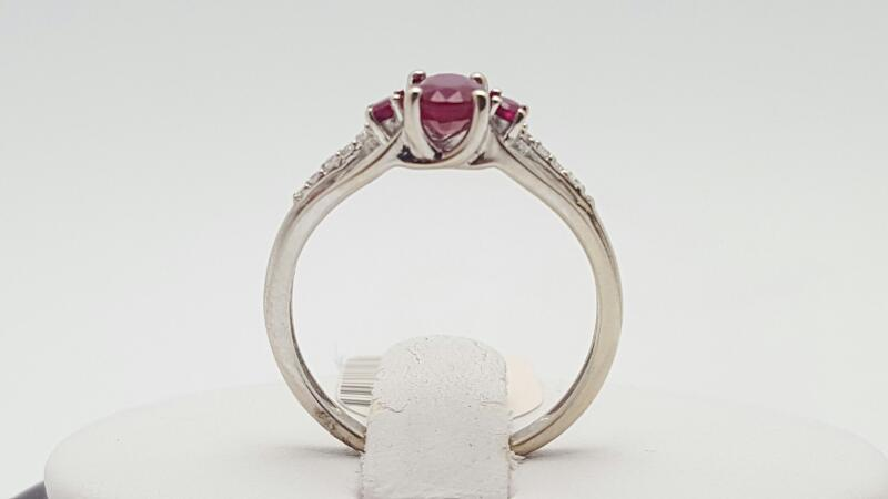Ruby Lady's Stone & Diamond Ring 10 Diamonds .050 Carat T.W. 10K White Gold