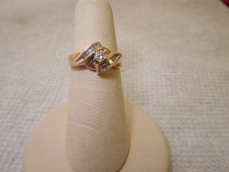 Lady's Diamond Engagement Ring 13 Diamonds .22 Carat T.W. 10K Yellow Gold 2.6g