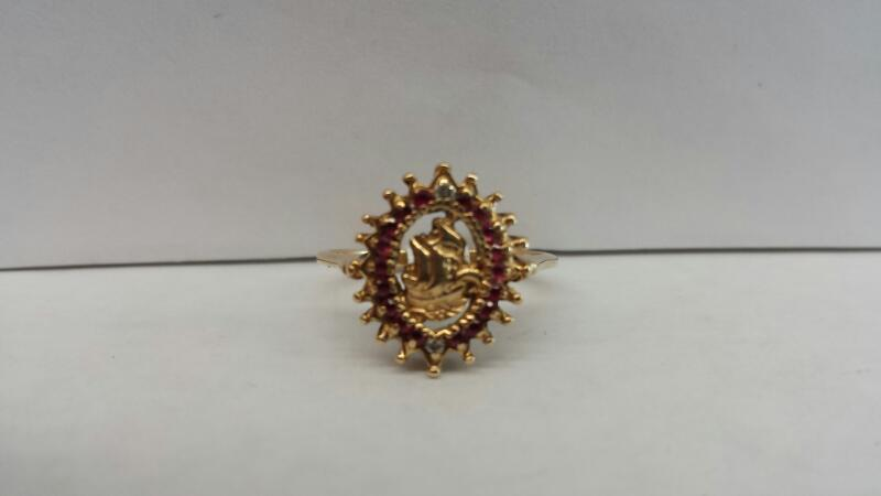 18k Yellow Gold Ring with 14 Ruby Stones and 2 Diamond Chips