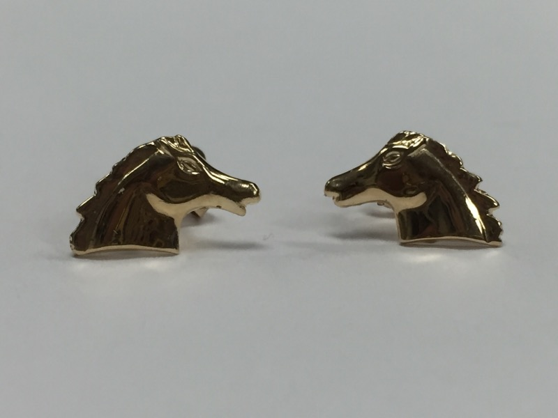14K HORSE STUD EARRINGS