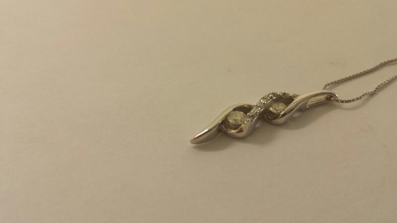 "23"" Diamond Necklace 13 Diamonds .31 Carat T.W. 14K White Gold 1.6dwt"
