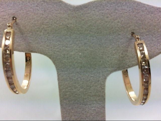 Gold-Diamond Earrings 24 Diamonds .72 Carat T.W. 14K Yellow Gold 5.7g