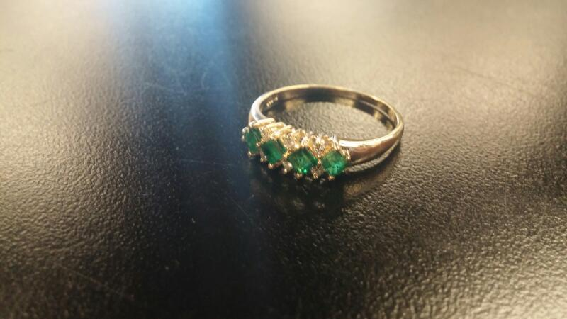Synthetic Emerald Lady's Stone Ring 14K Yellow Gold 1.9dwt Size:11.5