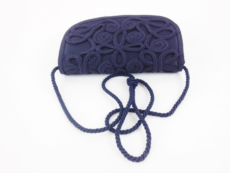 ESCADA Handbag NAVY BLUE CROSSBODY SATIN SHOULDER BAG