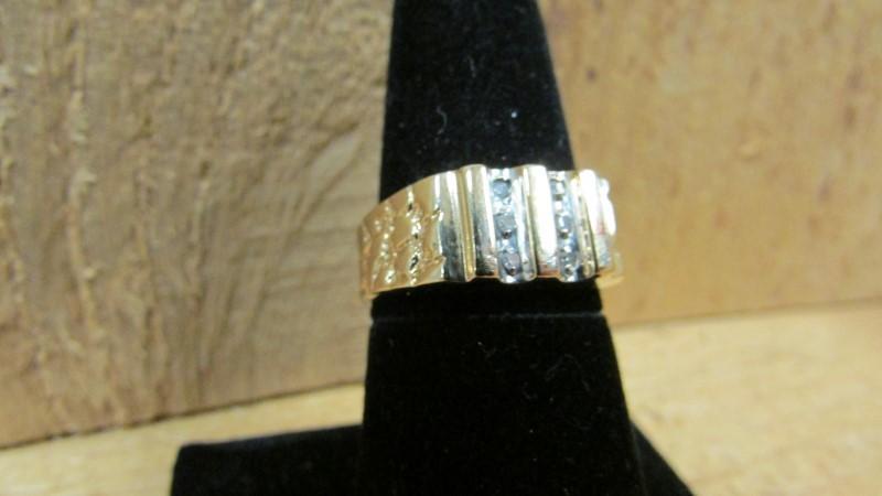Gent's Diamond Fashion Ring 6 Diamonds .06 Carat T.W. 10K Yellow Gold 3.9g