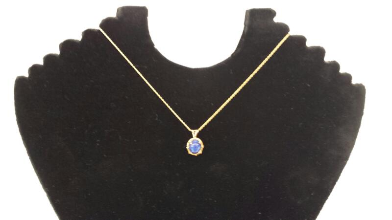 "14k 16"" Yellow Gold Necklace With Blue Stone Pendent"
