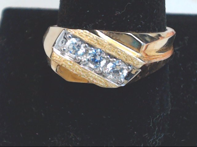 ESTATE SOLID 10K GOLD RING BAND WHITE STONE WEDDNG MENS FINE SIZE 11