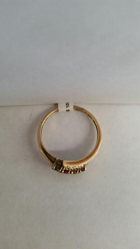 """10k Yellow Gold Ring """"Mother's Ring"""" with 10 Diamond Chips"""