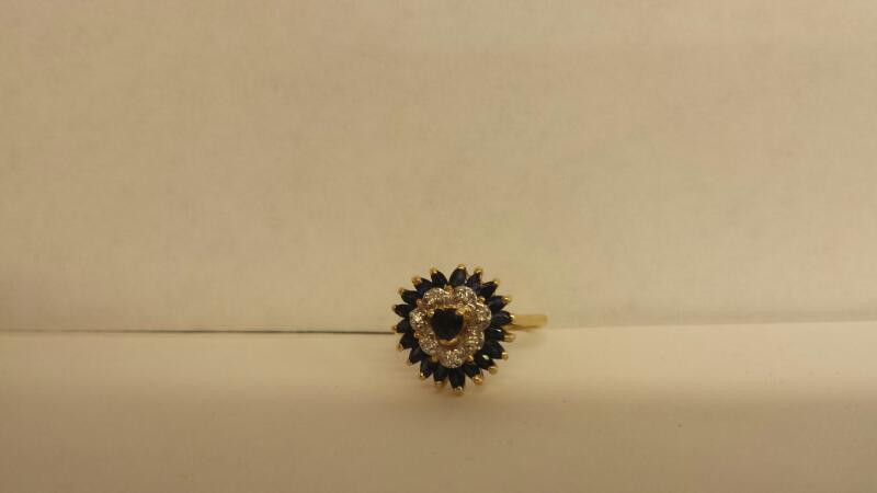 Synthetic Sapphire Lady's Stone Ring 14K Yellow Gold 2.4dwt Size:6