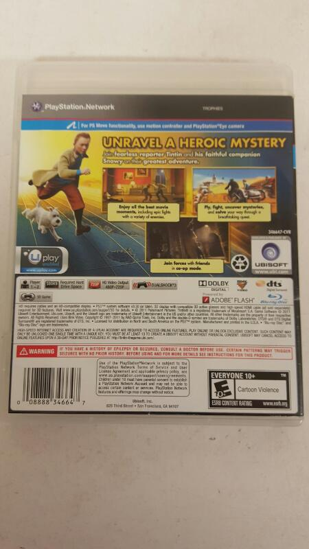 Adventures of Tintin: The Game PS3  FREE SHIPPING