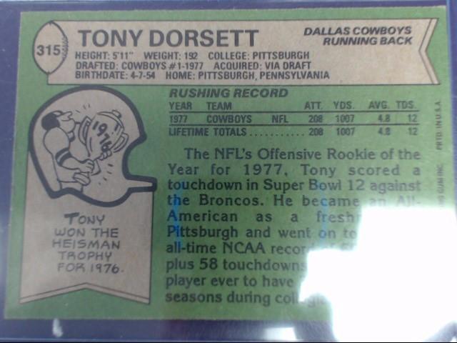 TOPPS 1978 TONY DORSETT #315