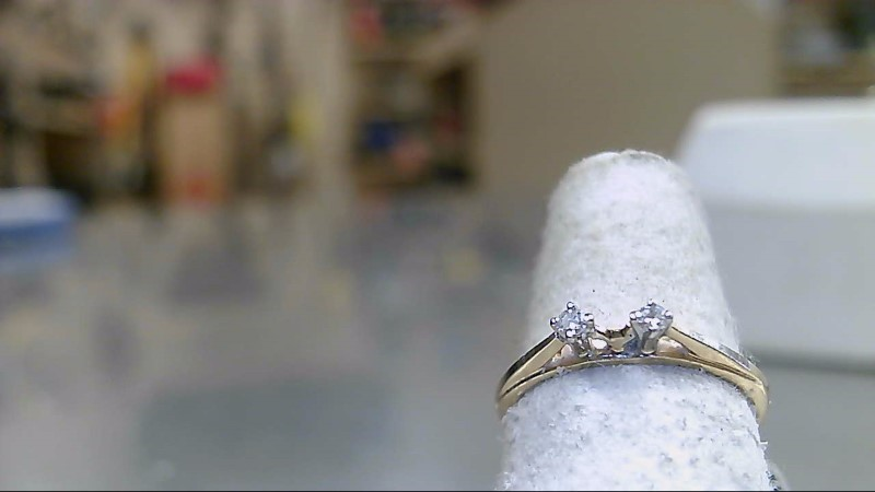 Lady's Gold-Diamond Ring Guard 2 Diamonds .02 Carat T.W. 14K Yellow Gold 1.5g