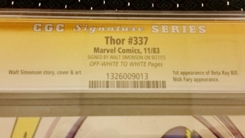 Thor #337 Nov. 1983 CGC Signature Series Walt Simonson 6.0 OW/W Pages