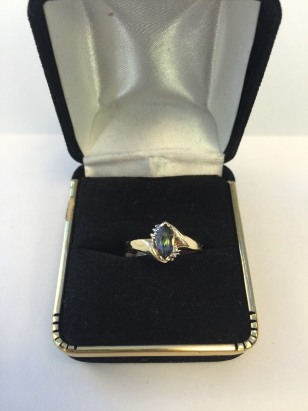 Synthetic Alexandrite Lady's Stone & Diamond Ring .05 CT. 10K Yellow Gold