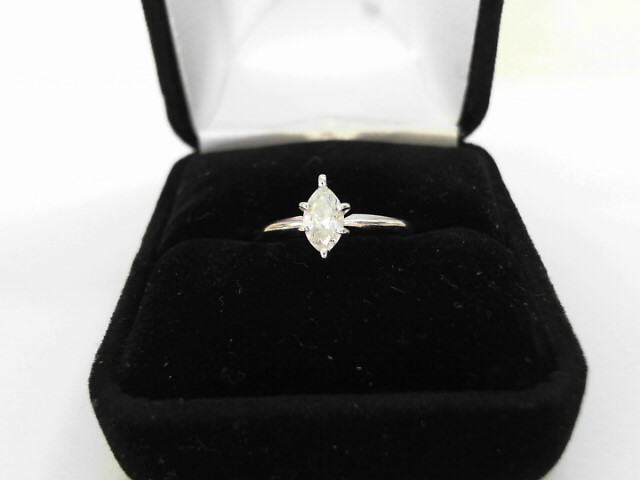 Lady's Diamond Solitaire Ring 2 Diamonds 1.02 Carat T.W. 14K White Gold 1.11dwt