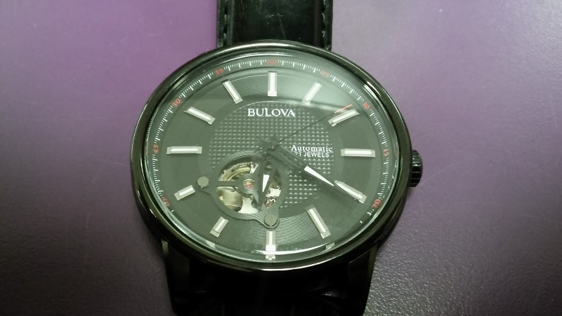 BULOVA MEN'S 98A139 21 JEWEL AUTOMATIC STAINLESS STEEL WATCH WITH BLACK LEATHER