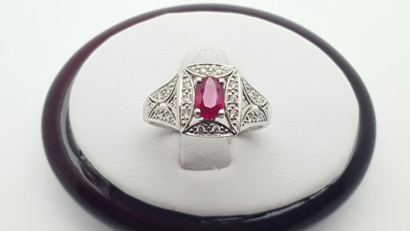 Ruby Lady's Stone & Diamond Ring 15 Diamonds .15 Carat T.W. 14K White Gold 3.5g
