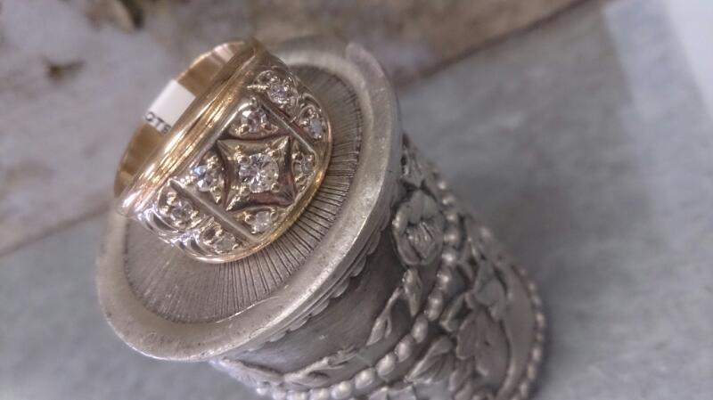 Gent's Diamond Cluster Ring 9 Diamonds .49 Carat T.W. 14K 2 Tone Gold 11.9g