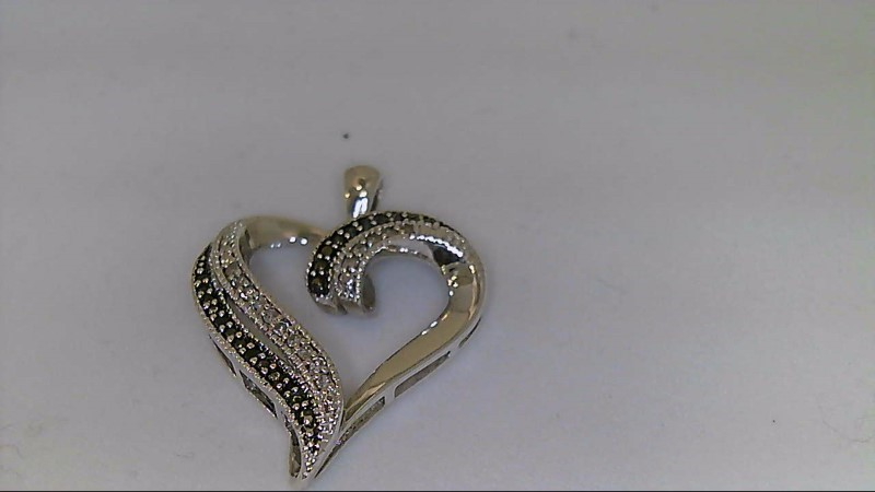 Silver-Diamond Pendant 30 Diamonds .60 Carat T.W. 925 Silver 3.54g