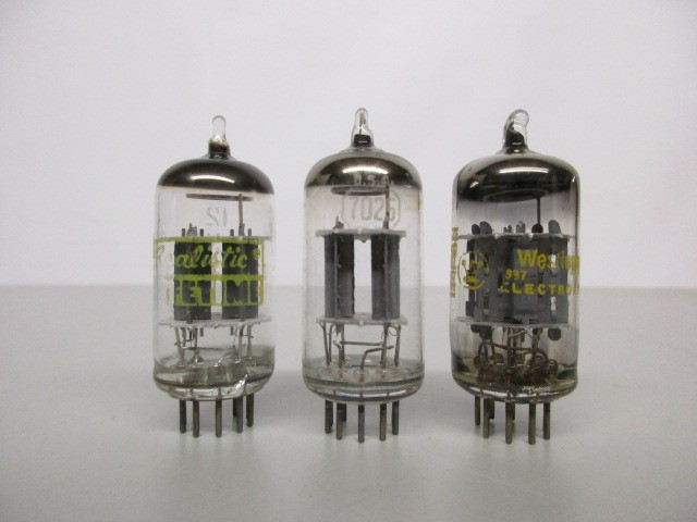 LOT OF THREE (3) 12AX7 PREAMP TUBES, TEST GOOD.