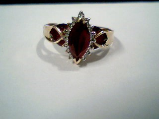 Synthetic Ruby Lady's Stone & Diamond Ring .01 CT. 10K Yellow Gold 3.2g Size:9