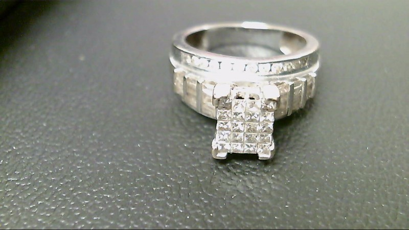 Lady's Diamond Cluster Ring 66 Diamonds 1.50 Carat T.W. 10K White Gold 6.8g