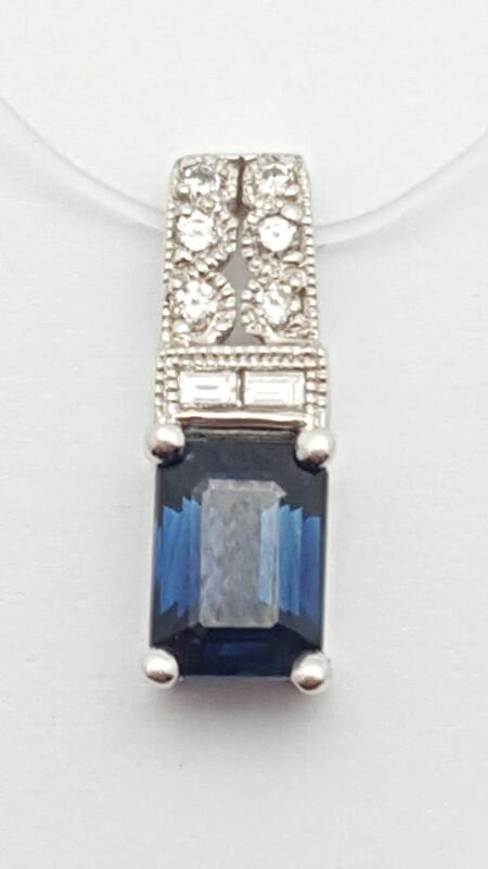 Sapphire Gold-Diamond & Stone Pendant 12 Diamonds .12 Carat T.W. 14K White Gold